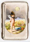 Zigarettenetui mit Bonaparte-Putto Silber, um 1920 Meister: Gustav Anton Scheidt 8,8 x 6,2 cm