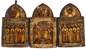 Hl. Dreifaltigkeit (neutestamentl. Typus) Russisches Triptychon, 17. Jh., mit Silberoklad (163g),