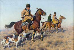 Hugo Ungewitter (1869 - 1944) Jagende Kosacken mit Hunden Öl / Leinwand, signiert und datiert 1936