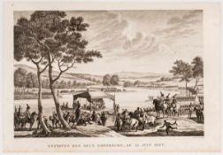 Treffen zwischen Napoleon und Alexander I. auf einem Floss am 25. Juni 1807 Kupferstich von Couché