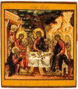 Hl. Dreifaltigkeit (altestl. Typus) Russische Ikone, um 1700 36,8 x 32,3 cm In Genesis 18,1-15