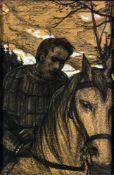 Ilya Glazunow (1930 - 2017) Bojare zu Pferd Kreidezeichnung auf Papier, signiert und datiert 1971