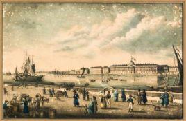 Ansicht des Kaiserlichen Palastes in St. Petersburg Kolorierter Kupferstich, um 1820 18 x 28 cm (