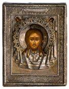 Mandylion Russische Ikone, datiert 28.03.1856, mit Silberoklad (62g), Moskau 1867 Beschaumeister: A.