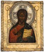 Christus Pantokrator Russische Ikone, 18. Jh., mit Silberoklad (456g), Kostroma 1863 Beschaumeister: