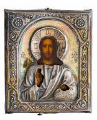 Christus Pantokrator Russische Ikone mit Silberoklad, St. Petersburg 1896-1908 9 x 7,5 cm