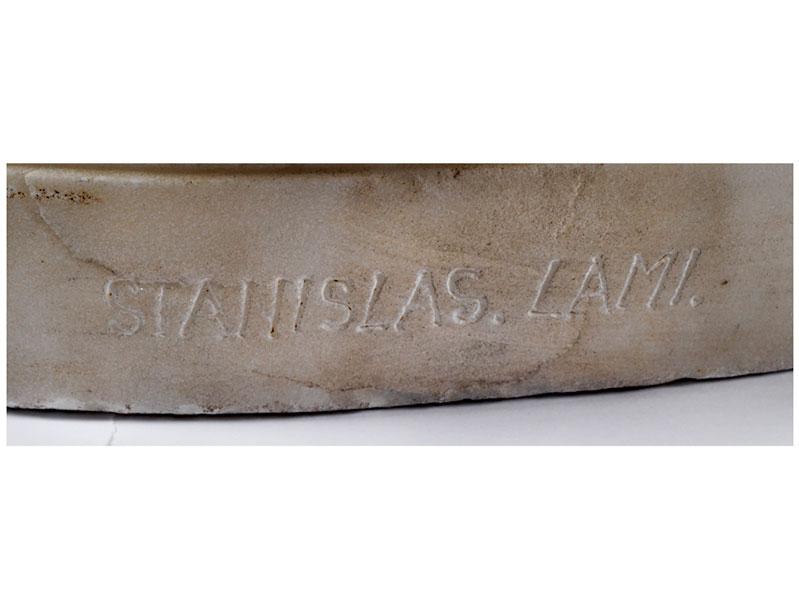 """Lot 27 - Stanislas Lami, 1858 """""""" 1944 PUTTO Höhe: 96 cm. Sockel auf Rückseite signiert. Zurückweichender"""