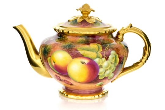 A Royal Worcester fruit painted teapot, fruit pattern signed and ...