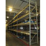 Lot: (4 Tier, 9 sections) Warehouse Pallet Racking, Slotted Angle Style. Consisting of: (1) Upright
