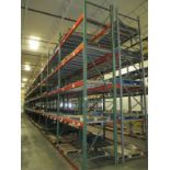 Lot: (4 Tier, 22 sections) Warehouse Pallet Racking, Teardrop Style. Consisting of: (28) Upright