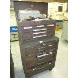 Tool Cabinet. Kennedy 14-Drawer Rolling Tool Cabinet with Contents. HIT# 2205851. CNC Room. Asset
