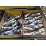 Collet Chucks. Lot: (18 pcs) CAT-40 Taper Insert Shell Mills and Collet Chucks. HIT# 2205817. CNC