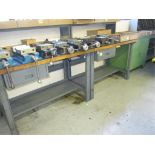 Workbenches. Lot: (2) 3ft Workbenches with (1) 2-Drawer Cabinet. HIT# 2205842. CNC Room. Asset