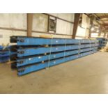 """LEWCO Lot: (8) sections 30'x10""""x32"""" chain driven conveyor, (20) 9'6"""" L x 9"""" W adjustable height"""