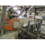 """4400 End Trim Saw, infeed table 144""""x41""""x44"""", out feed 144""""x38""""x32"""", (4) roller tables 12'x24"""""""