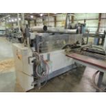 """Midwest Automation DE 4100 End Trim Saw. (2) infeed tables, 144""""x41""""x44"""", (1) out feed 144""""x38""""x32""""."""