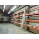 """Lot of pallet racking (9) 12'6""""x24"""" uprights, (64) 8' cross members. HIT# 2158099. Accessories Area."""