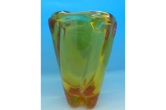 A Whitefriars Glass 195039s Gold Amber Spiral Twisted Vase