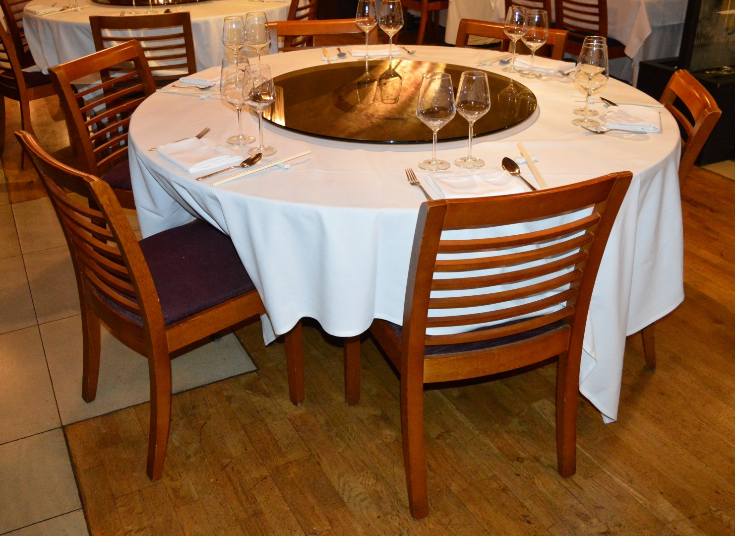 Large six seater restaurant dining table with lazy