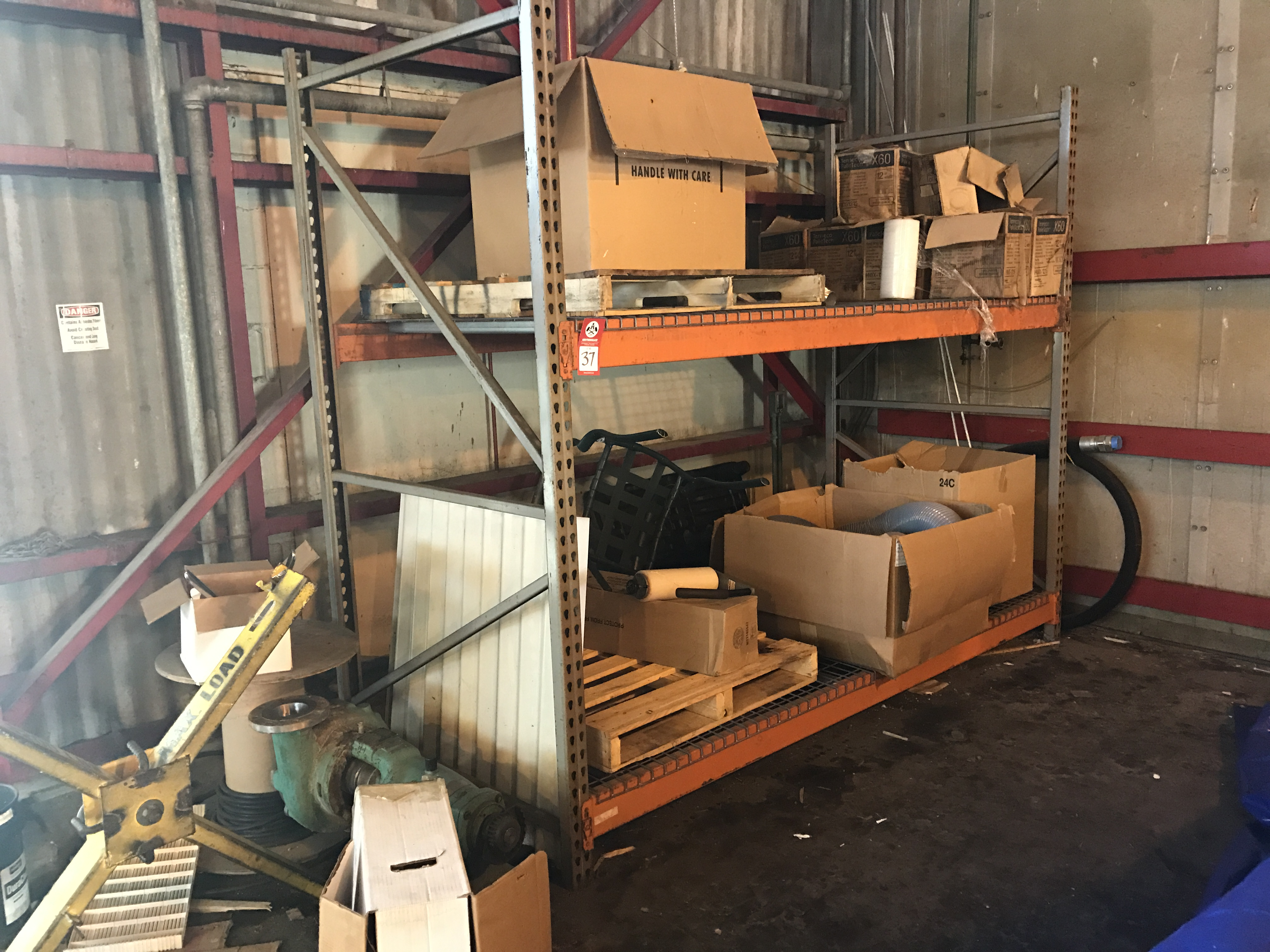 Lot 37 - Contents of pallet rack. Pallet rack not included