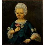 Ritratto di infante con rosa, olio su tela, cm.38x48, Spagna 1700