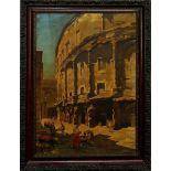 Teatro di Marcello Roma, olio su tela cm. 50x70, cornice coeva fine '800