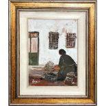 Donna, Alessandro Negri 1975, olio spatolato su cartoncino, cm. 30x40