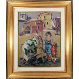 Scorcio di paese con figure, olio su faesiti, firmato Muchetti, cm. 30x40