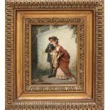 Dama e cavaliere, olio su cartoncino cm. 24x34 attribuibile Roberto Fontana?, cornice coeva