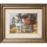 Contadino con cavallo, maestro del 900, olio su faesite, cm. 24x18