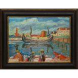 Le lavandaie di porto Catena, olio su faesite, Gino Donati '52, cm. 40x30