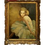 Ballerina, olio su tela, firmato Fried Pal, cm.60x78, primi 900 cornice coeva