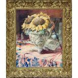 Girasoli in vaso, acquarello su cartoncino, firmato in basso a destra e datato 1946, cm. 48x38
