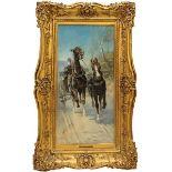 Cavalli in corsa con calesse, olio su tela, N. Joannis 1908, cm. 30x60
