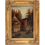 Paesaggio orientale con figure, olio su cartoncino cm. 28x36, cornice coeva