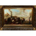 Battaglia, olio su tela, scuola italiana dell'800, cm. 96x50 cornice coeva.