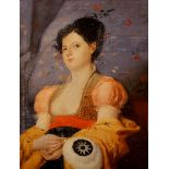 Ritratto di giovane donna, olio su tela applicata su cartoncino cm. 46x61 america fine '800