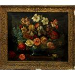 Trionfo di fiori in vaso blu, scuola Inglese dell'800, olio su tela, cm. 60x52, cornice coeva