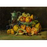 Natura morta con brocca e frutta , olio su tela firmato in basso a destra cm.48x36, primi 900