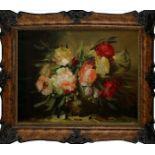 Vaso di peonie, olio su tela cm.60x80 fine '800 primi 900 cornice coeva