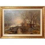 Paesaggio invernale con casa e figura, olio su tela cm. 75x51 James Edwards scuola inglese dell'800