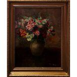 Vaso di fiori, olio su tela cm. 45x59 Hemel Margit 1930 cornice coeva
