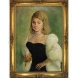 Ritratto di donna in abito da sera , olio su tela, firmato in basso a destra. Cm 64x90 , anni '50/'