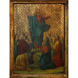 Cristo benedicente, olio su tavola con fondo dorato cm. 40x57. Est Europa, primi 900.
