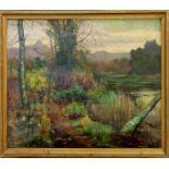 Paesaggio fluviale, olio su tela cm.52x35. Scuola inglese dell' 800