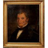 Ritratto virile, olio su tela cm. 41x49 con scritta in alto a dx (Vangelo, Sobrietà, Operosità, ed