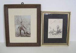 Photographie ancienne d'un garde champêtre luxembourgeois / Petit dessin à l'encre [...]