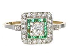 Ring: zierlicher, ausgesprochen schöner antiker Diamant/Smaragdring Ca. Ø18mm, RG57, ca. 2,5g, 18K