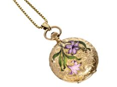 Taschenuhr: seltene Art Nouveau Gold/Emaille Damensavonnette an hochwertiger 18K Goldkette Uhr ca.