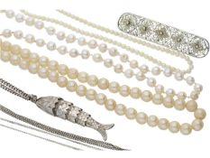 Kette/Anhänger: Konvolut Silberketten, Perlenketten sowie ein Anhänger und eine Brosche 2